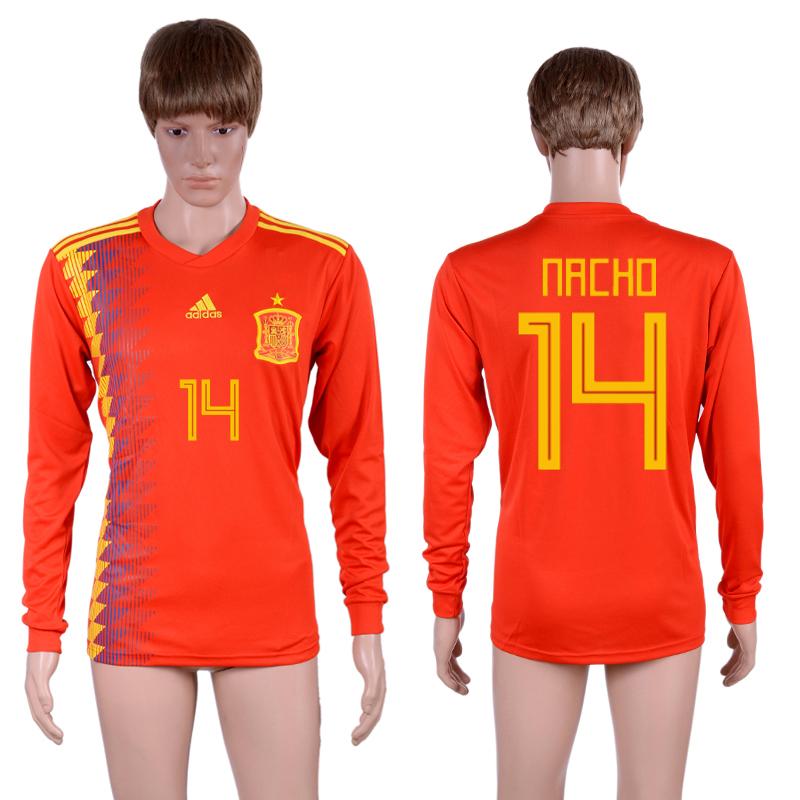 Spain 14 NACHO Home 2018 FIFA World Cup Long Sleeve Thailand Soccer Jersey