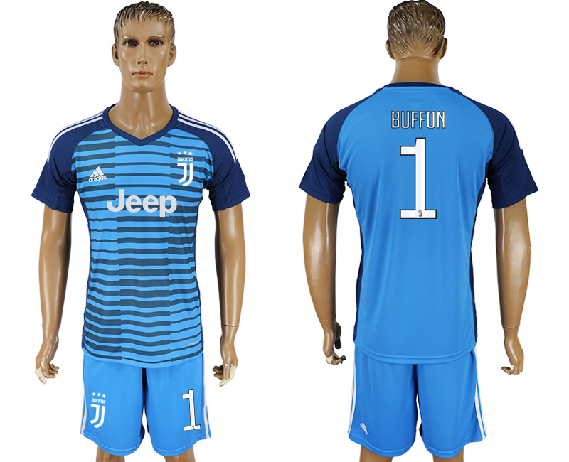 2017-18 Juventus 1 BUFFON Lake Blue Goalkeeper Soccer Jersey