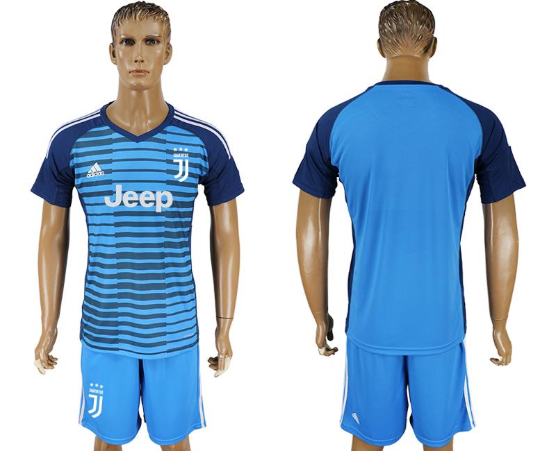 2017-18 Juventus Lake Blue Goalkeeper Soccer Jersey