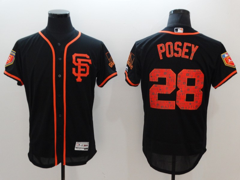 Giants 28 Buster Posey Black 2018 Spring Training Flexbase Jersey