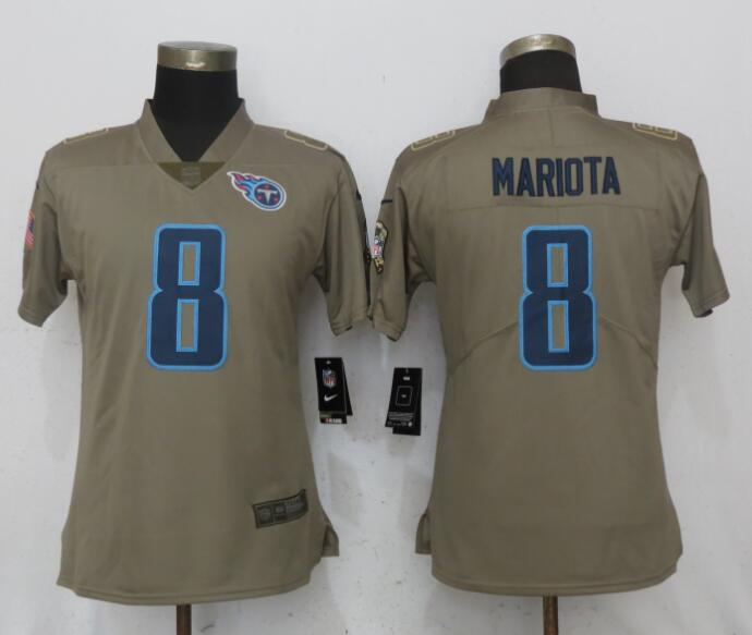 Nike Titans 8 Marcus Mariota Olive Women Salute To Service Limited Jersey