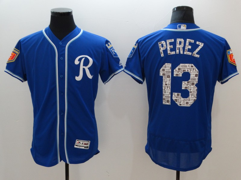 Royals 13 Salvador Perez Royal 2018 Spring Training Flexbase Jersey