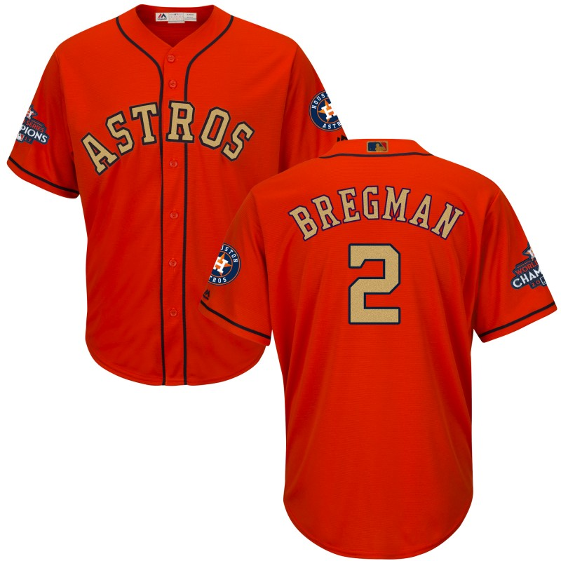 Astros 2 Alex Bregman Orange 2018 Gold Program Cool Base Jersey