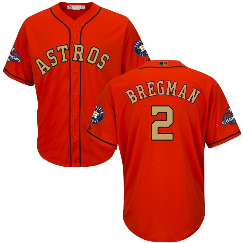 Astros 2 Alex Bregman Orange 2018 Gold Program Cool Base Jersey