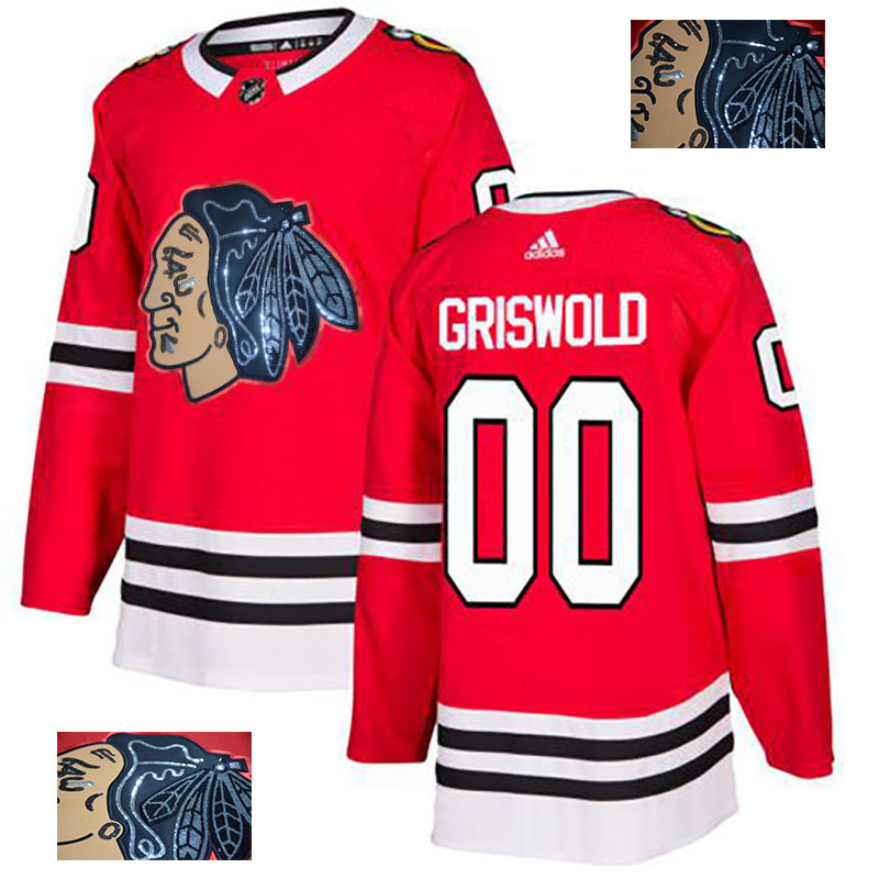 Blackhawks 00 Clark Griswold Red Glittery Edition Adidas Jersey
