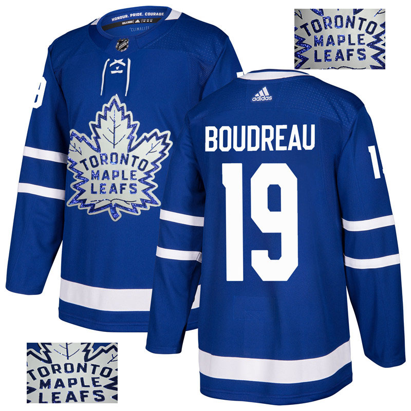 Maple Leafs 19 Bruce Boudreau Blue Glittery Edition Adidas Jersey