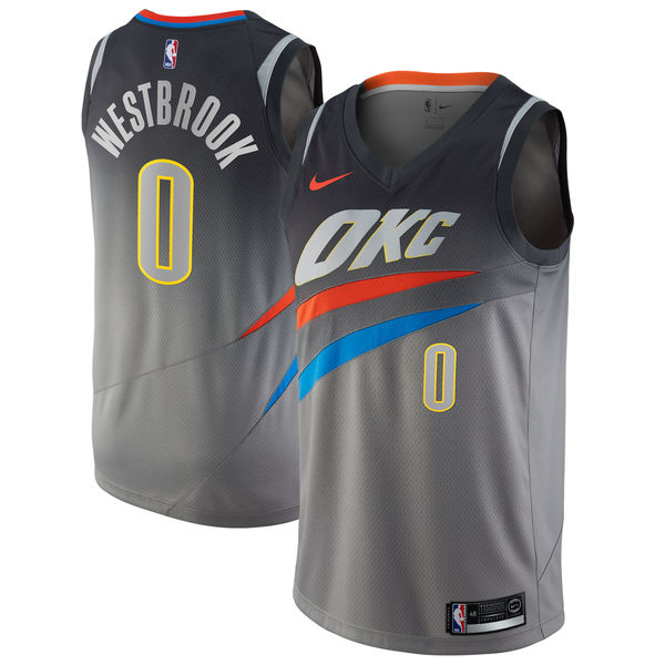 Thunder 0 Russell Westbrook Gray City Edition Nike Swingman Jersey