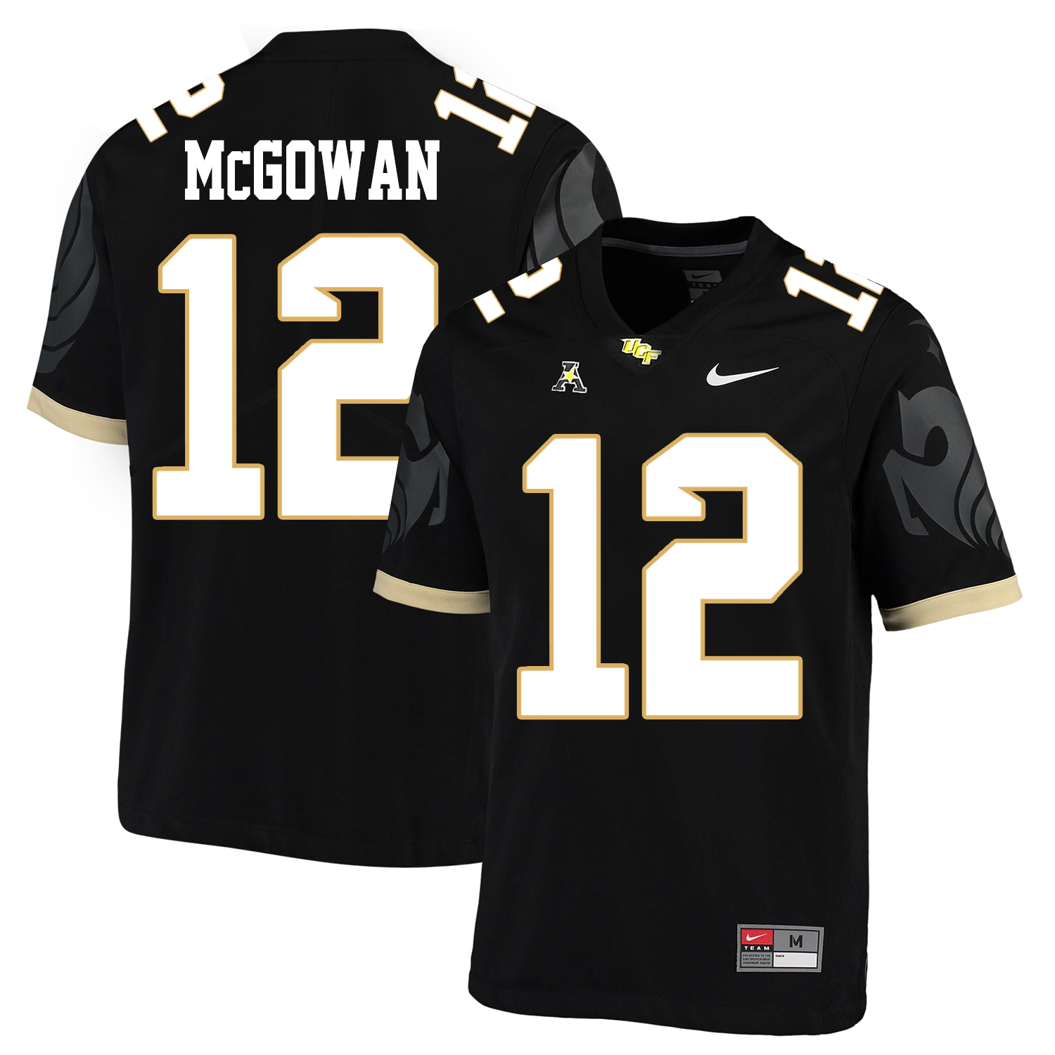 UCF Knights 12 Taj McGowan Black College Football Jersey
