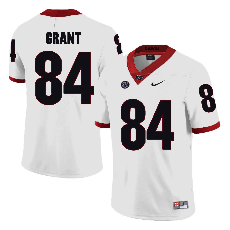 Georgia Bulldogs 84 Walter Grant White College Football Jersey