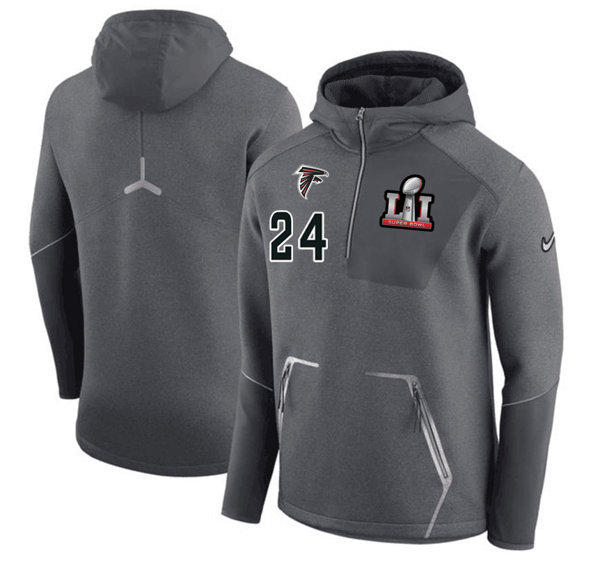 Atlanta Falcons 24 Devonta Freeman Nike 2017 Super Bowl LI Bound Team Half-Zip Performance Pullover Hoodie Gray