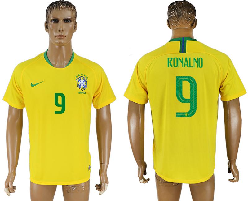 Brazil 9 RONALDO Home 2018 FIFA World Cup Thailand Soccer Jersey