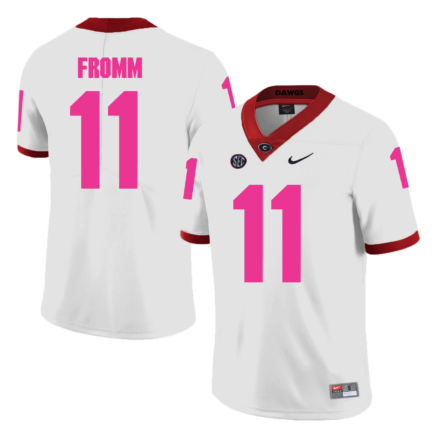 Georgia Bulldogs 11 Jake Fromm White 2018 Breast Cancer Awareness College Football Jersey