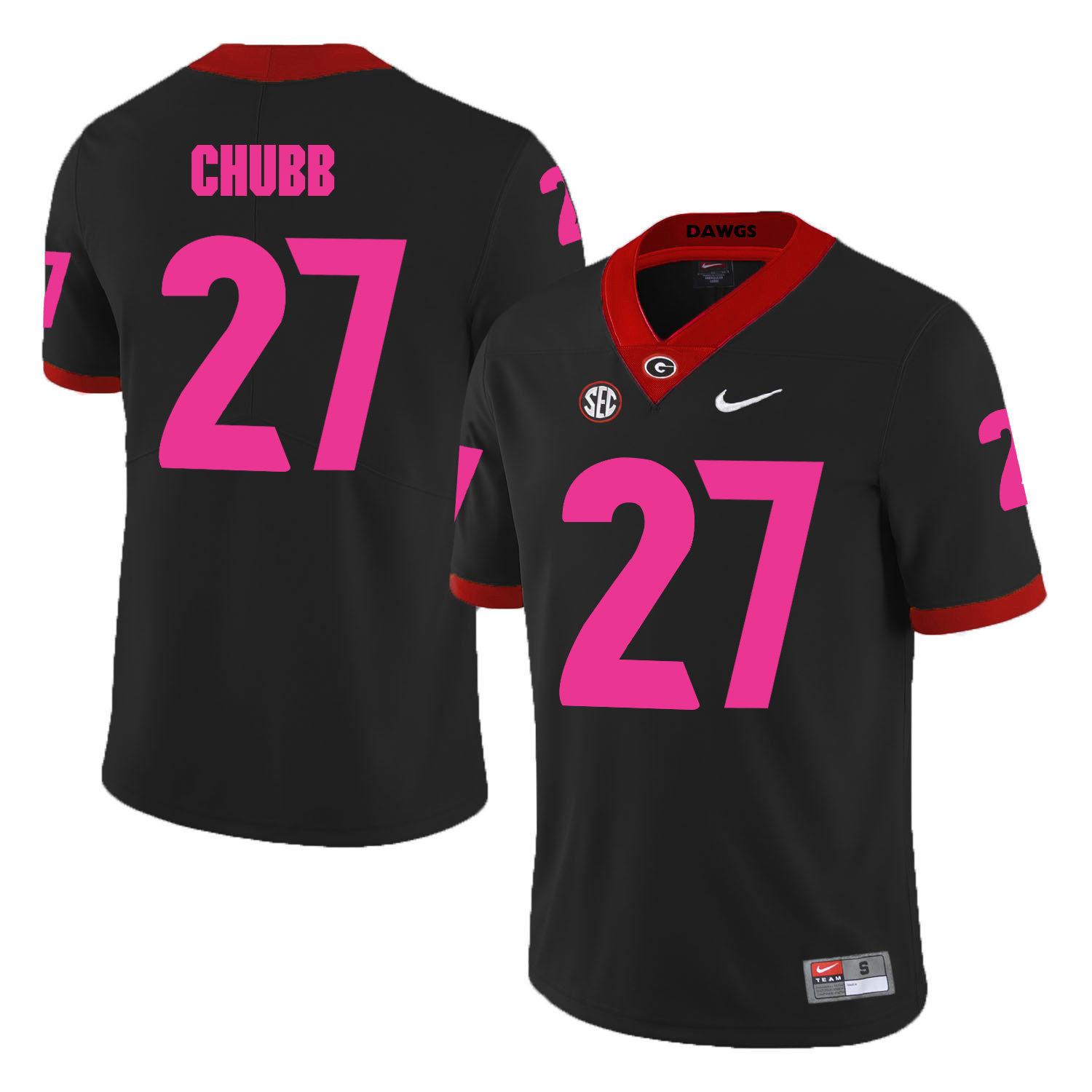 Georgia Bulldogs 27 Nick Chubb Black 2018 Breast Cancer Awareness College Football Jersey