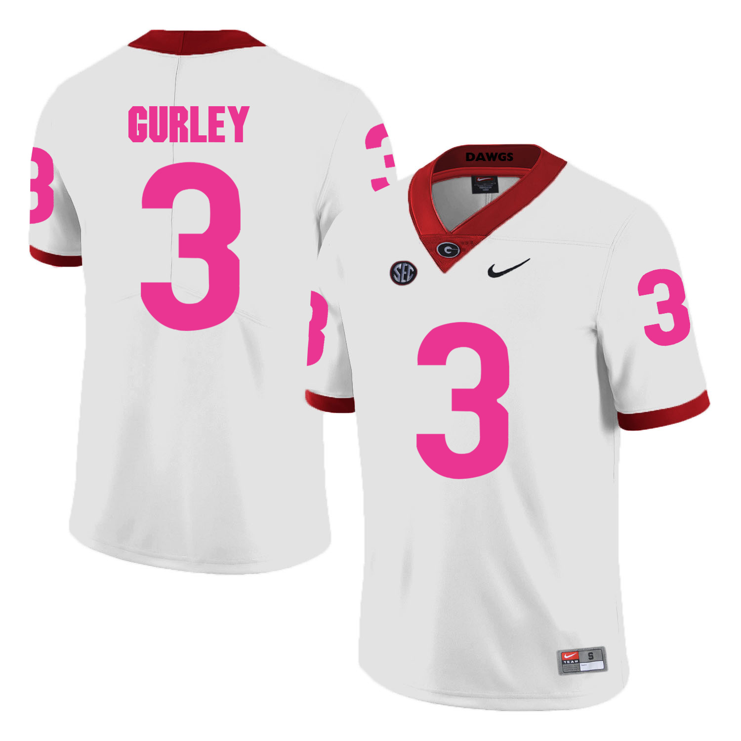 Georgia Bulldogs 3 Todd Gurley White 2018 Breast Cancer Awareness College Football Jersey