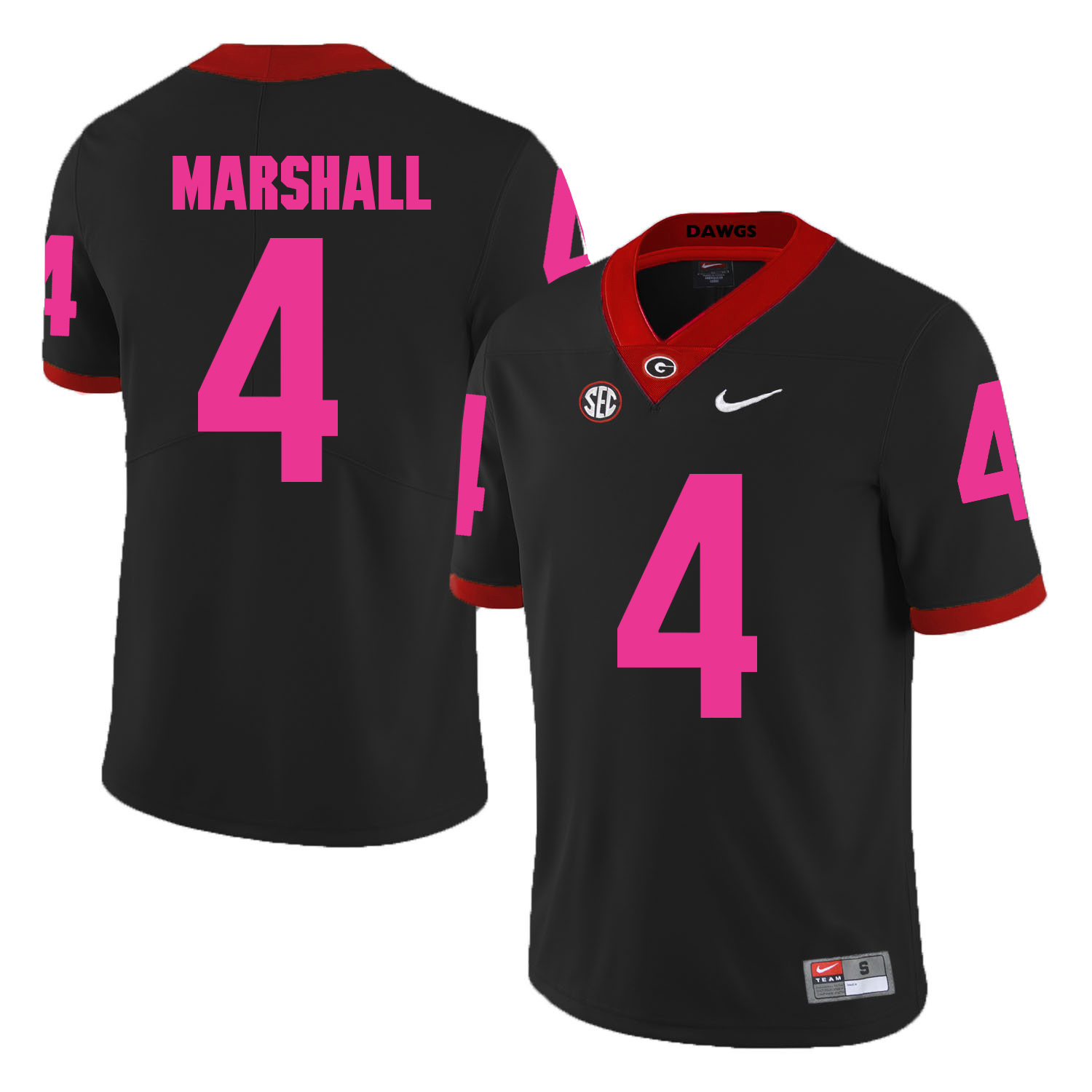 Georgia Bulldogs 4 Keith Marshall Black 2018 Breast Cancer Awareness College Football Jersey