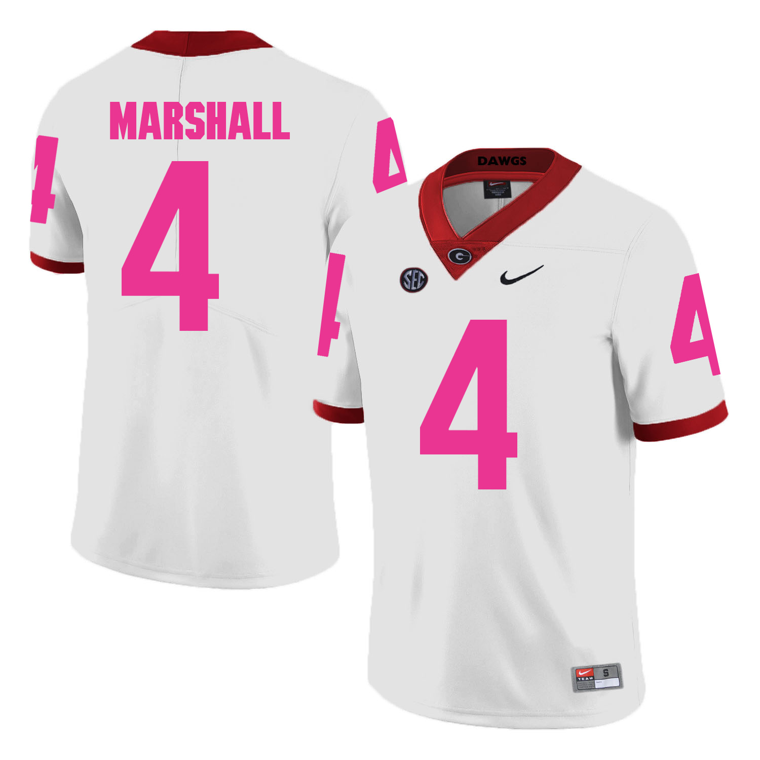 Georgia Bulldogs 4 Keith Marshall White 2018 Breast Cancer Awareness College Football Jersey