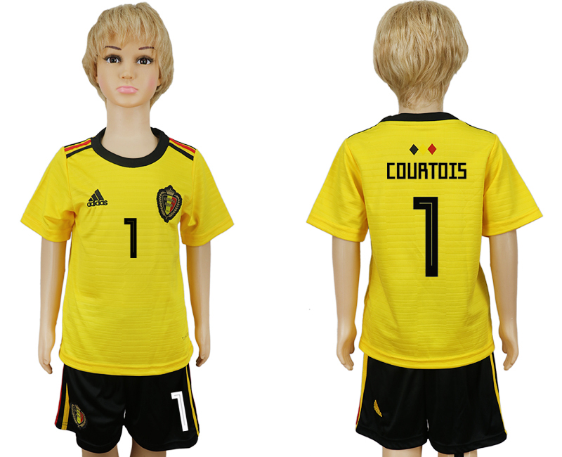 Belgium 1 COURTOIS Away Youth 2018 FIFA World Cup Soccer Jersey
