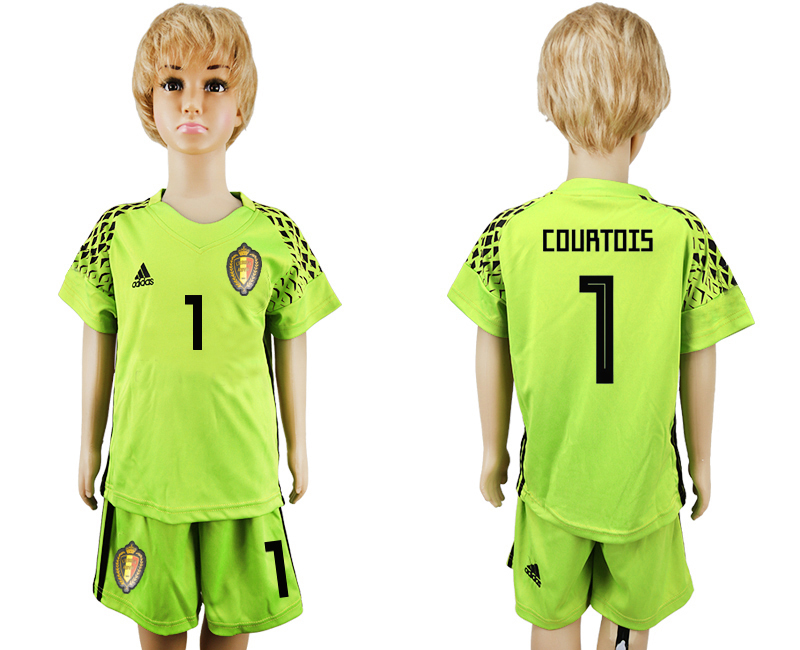 Belgium 1 COURTOIS Fluorescent Green Goalkeeper Youth 2018 FIFA World Cup Soccer Jersey