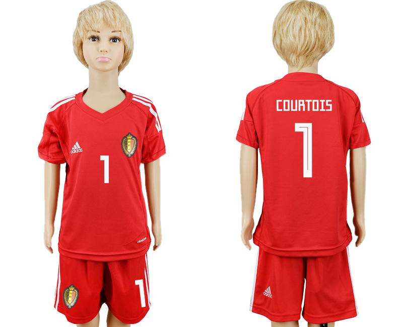 Belgium 1 COURTOIS Red Goalkeeper Youth 2018 FIFA World Cup Soccer Jersey