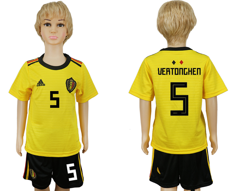Belgium 5 VERTONGHEN Away Youth 2018 FIFA World Cup Soccer Jersey