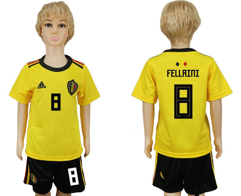 Belgium 8 FELLAINI Away Youth 2018 FIFA World Cup Soccer Jersey