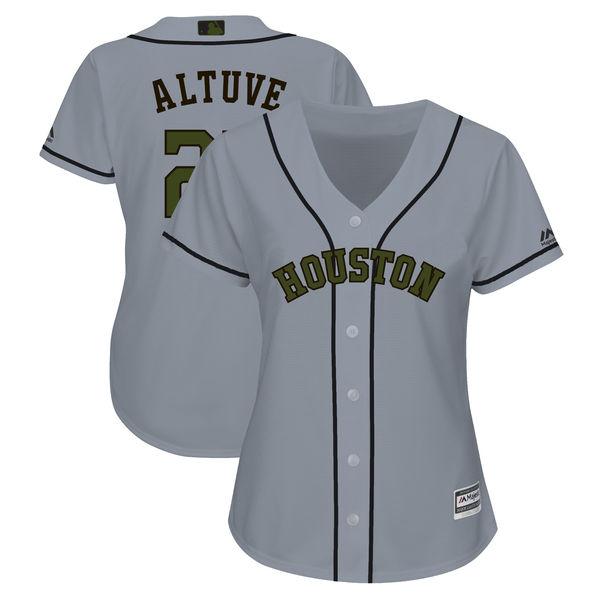 Astros 27 Jose Altuve Gray Women 2018 Memorial Day Cool Base Jersey