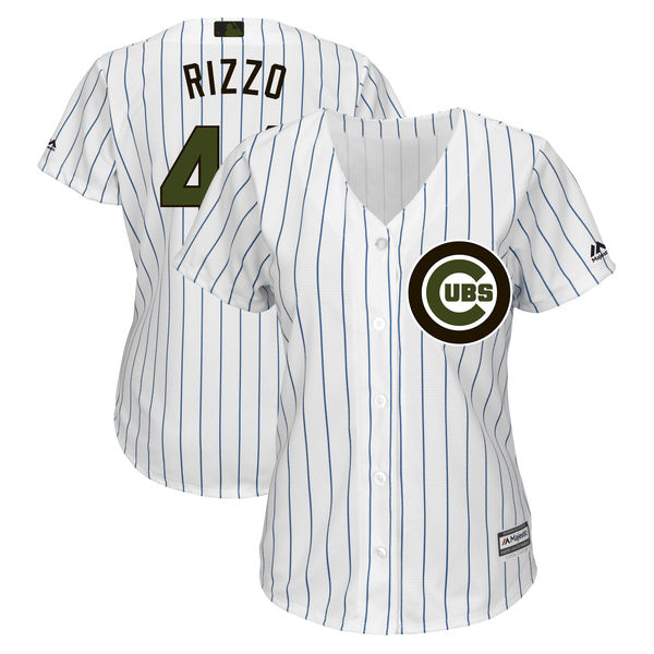 Cubs 44 Anthony Rizzo White Women 2018 Memorial Day Cool Base Jersey