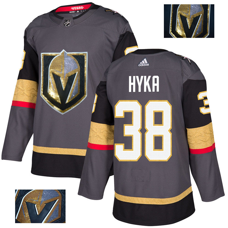 Vegas Golden Knights 38 Tomas Hyka Gray With Special Glittery Logo Adidas Jersey