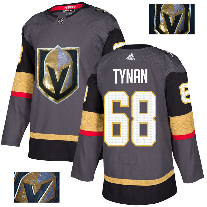 Vegas Golden Knights 68 T.J. Tynan Gray With Special Glittery Logo Adidas Jersey