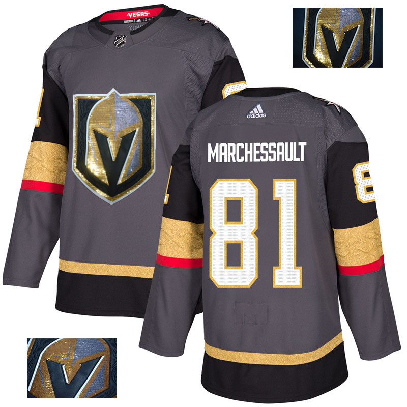 Vegas Golden Knights 81 Jonathan Marchessault Gray With Special Glittery Logo Adidas Jersey