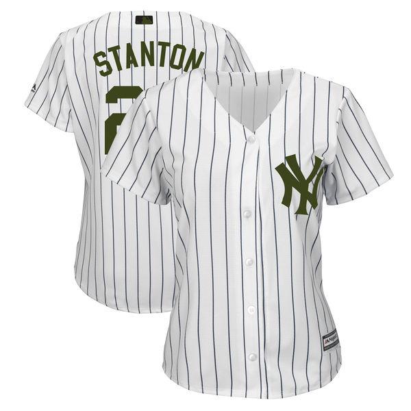 Yankees 27 Giancarlo Stanton White Women 2018 Memorial Day Cool Base Jersey