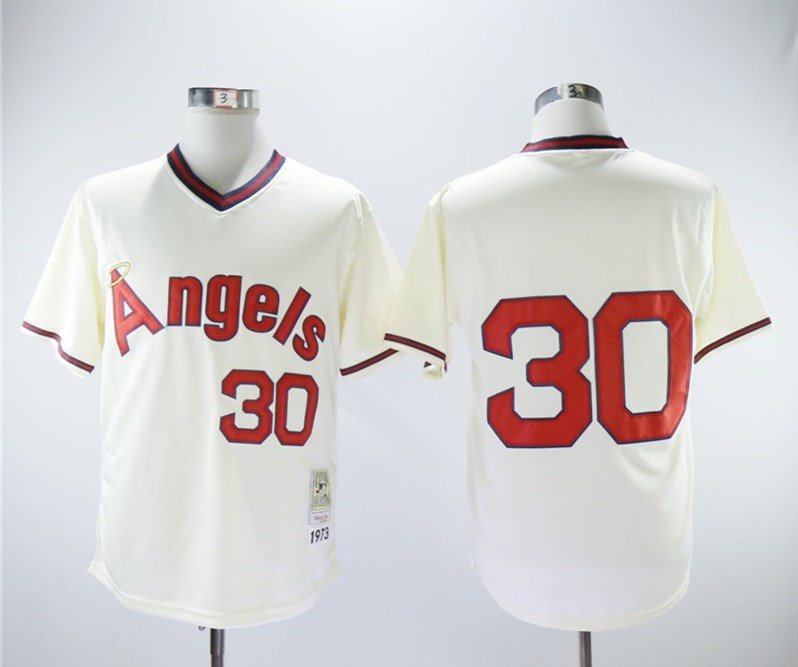 Angels 30 Nolan Ryan Cream 1973 Throwback Jersey