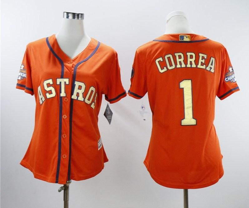 Astros 1 Carlos Correa Orange Women 2018 Gold Program Cool Base Jersey