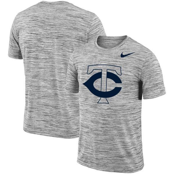 Minnesota Twins Nike Heathered Black Sideline Legend Velocity Travel Performance T-Shirt