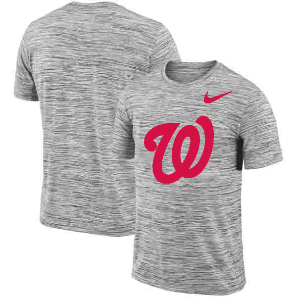 Washington Nationals Nike Heathered Black Sideline Legend Velocity Travel Performance T-Shirt
