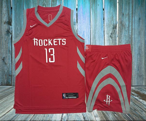 Rockets 13 James Harden Red Nike Swingman Jersey(With Shorts)