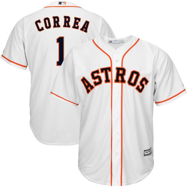 Astros 1 Carlos Correa White Cool Base Jersey