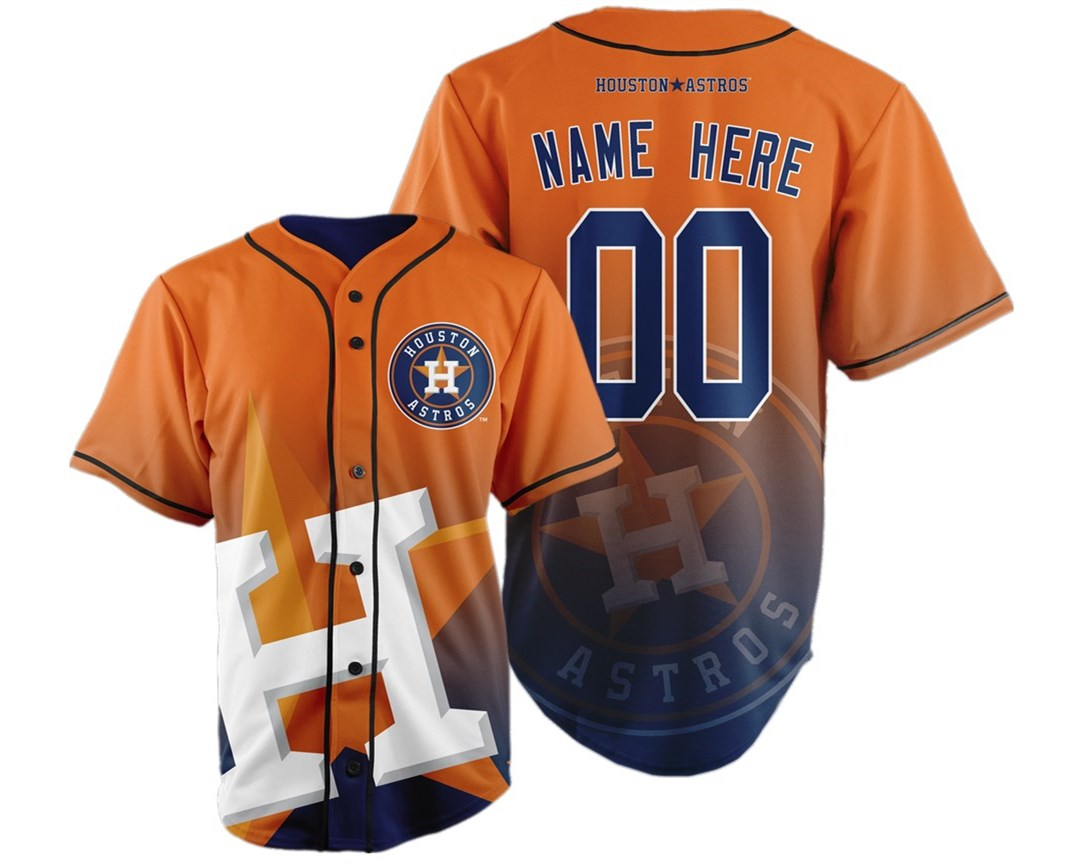 Houston Astros Big Logo Print Men's All Stitched Customized Jersey
