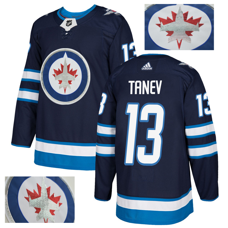 Jets 13 Brandon Tanev Navy With Special Glittery Logo Adidas Jersey