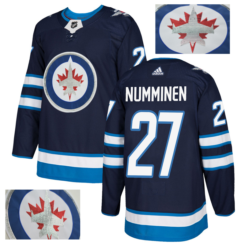 Jets 27 Teppo Numminen Navy With Special Glittery Logo Adidas Jersey