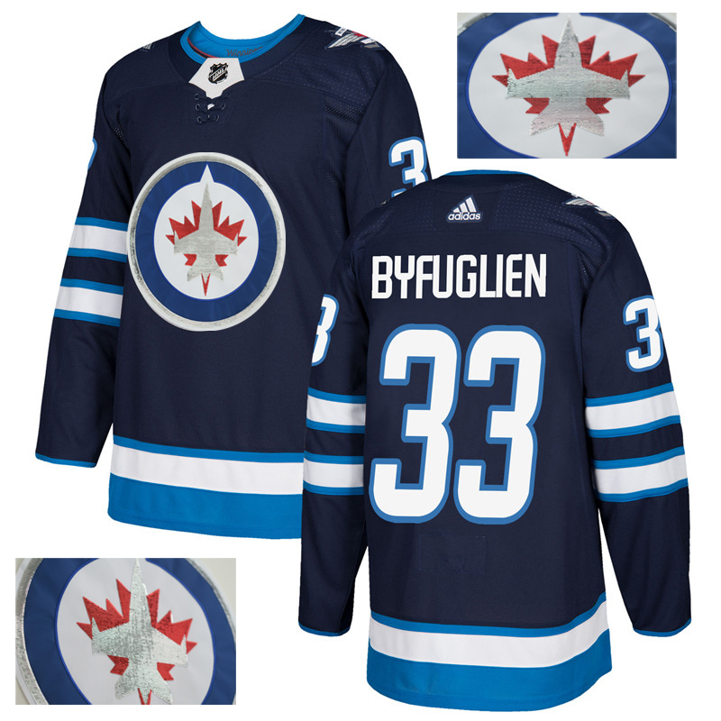 Jets 33 Dustin Byfuglien Navy With Special Glittery Logo Adidas Jersey