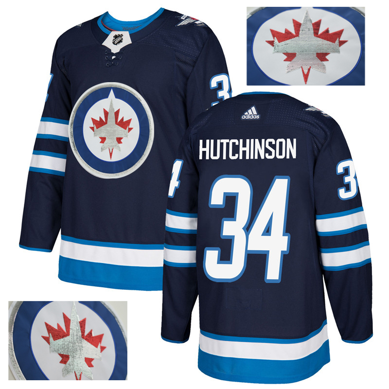 Jets 34 Michael Hutchinson Navy With Special Glittery Logo Adidas Jersey