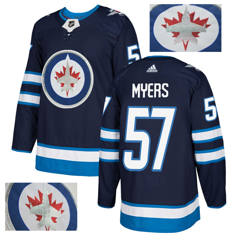 Jets 57 Tyler Myers Navy With Special Glittery Logo Adidas Jersey