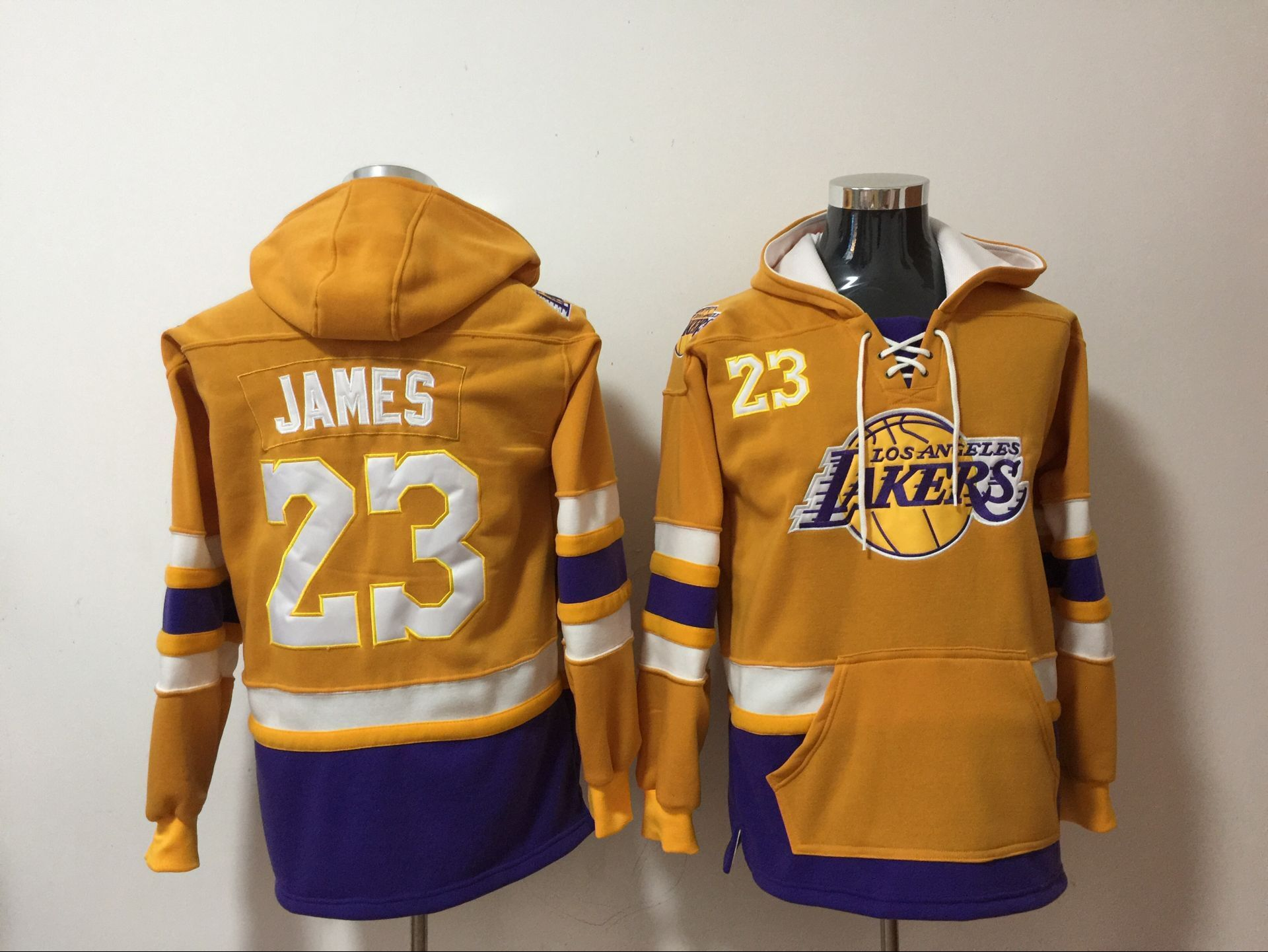Lakers 23 Lebron James Yellow All Stitched Hooded Sweatshirt