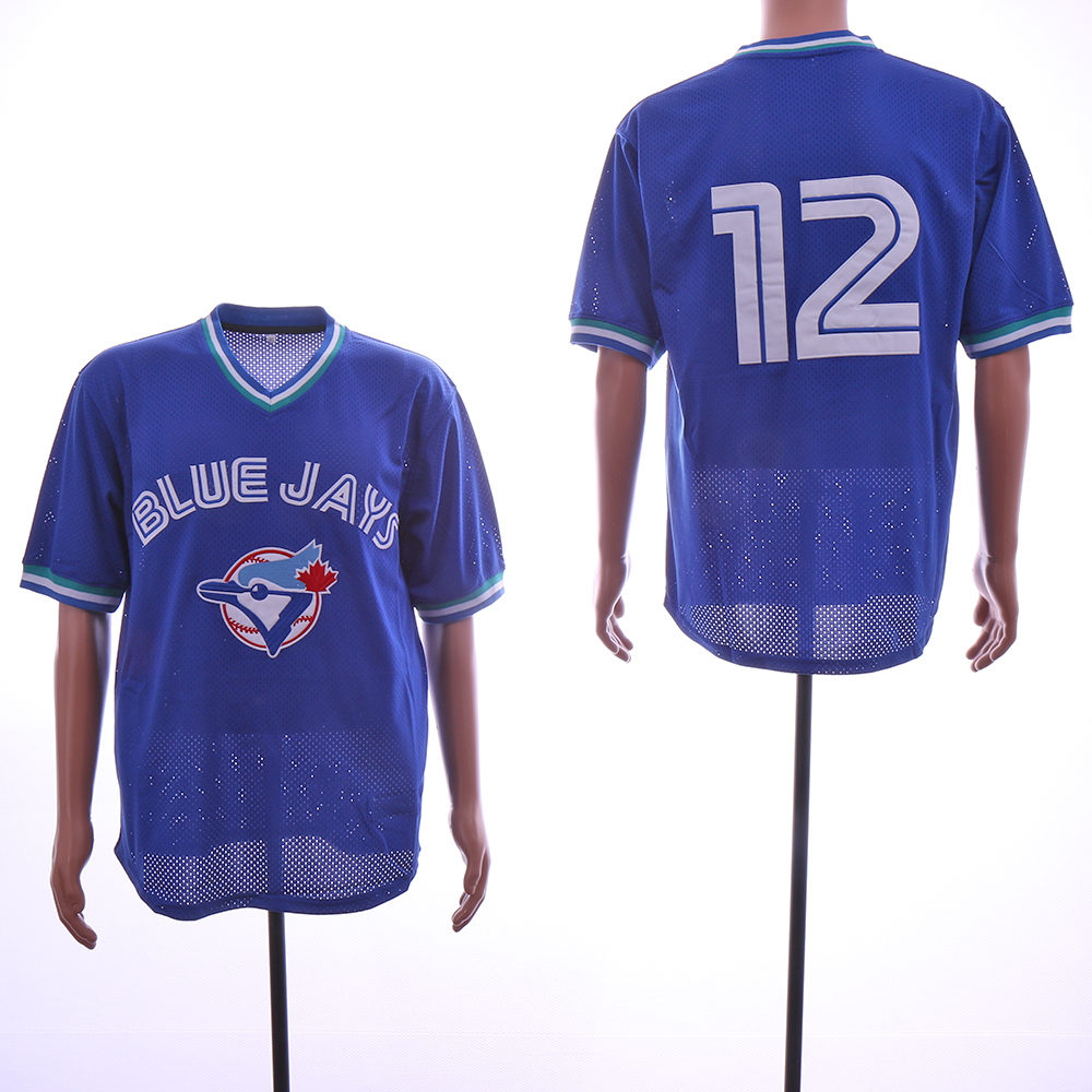 Blue Jays 12 Roberto Alomar Blue Mesh Throwback Jersey