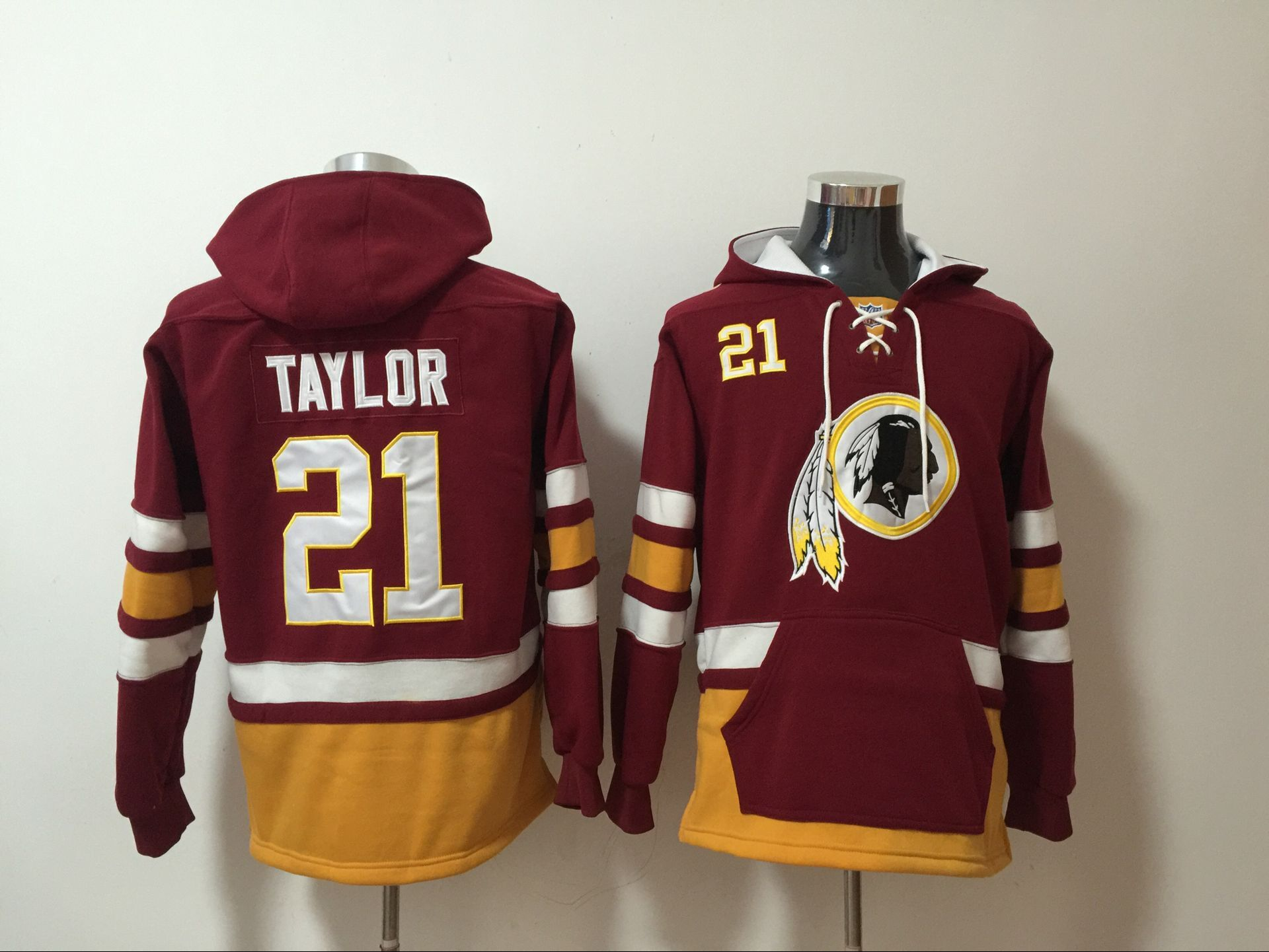 Nike Redskins 21 Sean Taylor Red All Stitched Hooded Sweatshirt