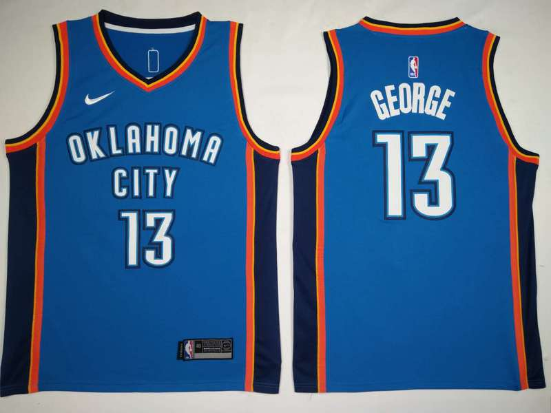 Thunder 13 Paul George Blue Nike Swingman Jersey