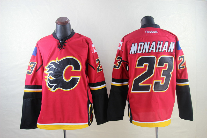 Flames 23 Monahan Red Reebok Jerseys