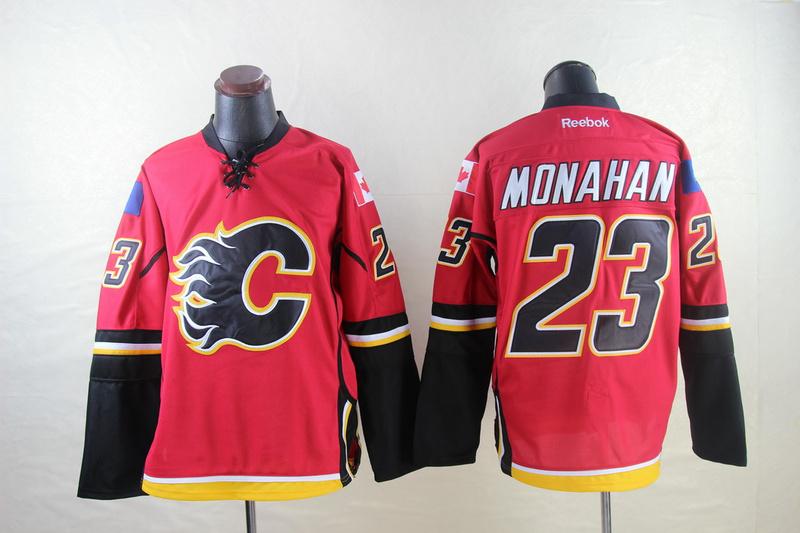 Flames 23 Monahan Red Reebok Jerseys