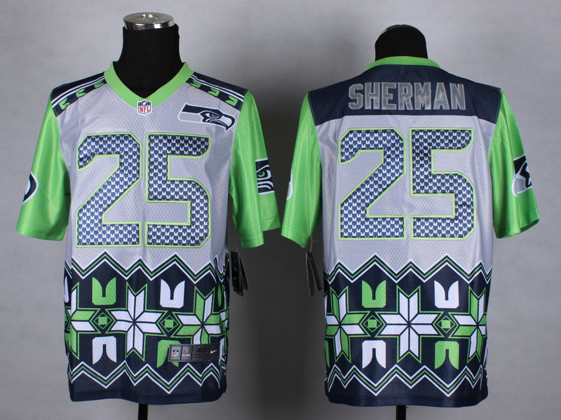Nike Seahawks 25 Sherman Noble Fashion Elite Jerseys